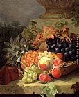 Eloise Harriet Stannard Peaches, Grapes And A Pineapple In A Basket, On A Stone Ledge painting