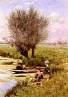 Emile Claus Afternoon Along The River painting