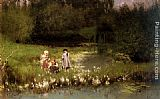 Emile Claus Picking Blossoms painting