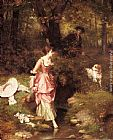 Emile Pierre Metzmacher A Young Beauty Crossing a Brook with a Hunter Beyond painting