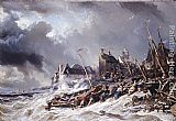 Eugene Isabey Hurricane before Saint Malo painting