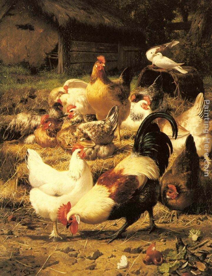 Eugene Remy Maes Poultry in a Farmyard