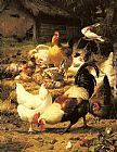 Eugene Remy Maes Poultry in a Farmyard painting