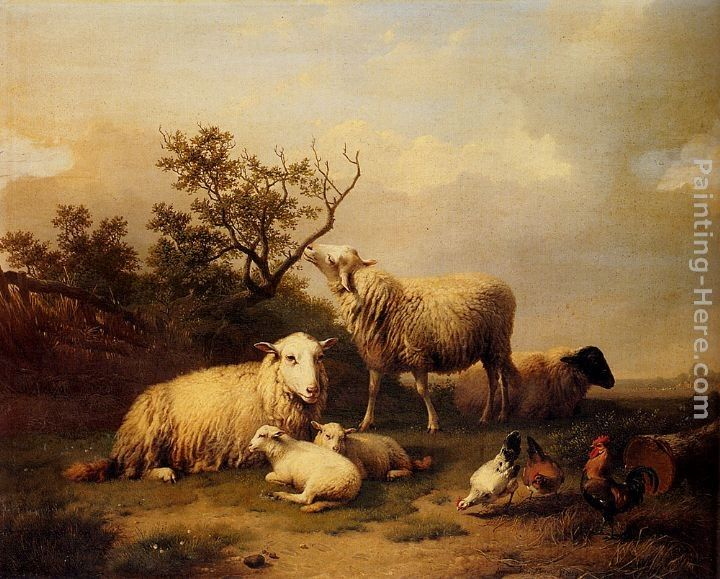 Eugene Verboeckhoven Sheep With Resting Lambs And Poultry In A Landscape