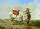 Eugene Verboeckhoven A Cavalier Watering his Mount painting