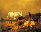 Eugene Verboeckhoven A Horse, Sheep and a Goat in a Landscape painting