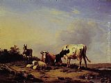 Eugene Verboeckhoven A gathering in the pasture painting