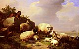 Eugene Verboeckhoven Guarding The Flock By The Coast painting