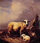 Eugene Verboeckhoven Guarding the Lamb painting