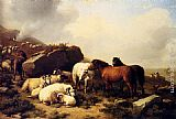 Eugene Verboeckhoven Horses And Sheep By The Coast painting