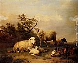 Eugene Verboeckhoven Sheep With Resting Lambs And Poultry In A Landscape painting