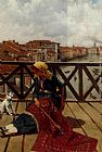 Franz Leo Ruben A Distraction On The Accademia Bridge, Venice painting