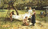 Frederick Morgan An Apple-gathering painting