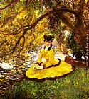 Gaston La Touche At the Riverbank painting