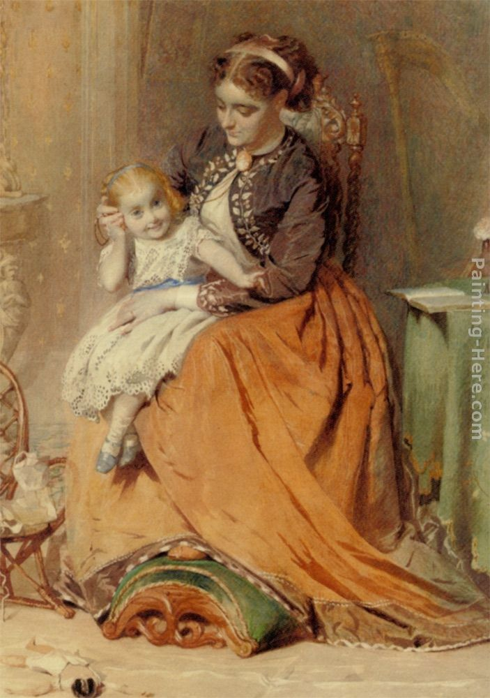 George Elgar Hicks A girl listening to the ticking of a pocket watch while sitting on her mothers lap
