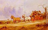 George Wright A Coach And Four On The Open Road painting