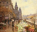 Georges Stein A Flower Market Along the Seine painting