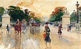 Georges Stein Busy Traffic On The Champs Elysees, Paris painting