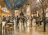 Georges Stein Evening on a Parisian Boulevard painting