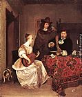 Gerard ter Borch A Young Woman Playing a Theorbo to Two Men painting