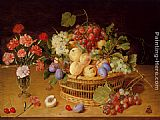 Gerrit van Honthorst A Still Life Of A Vase Of Carnations To The Left Of A Basket Of Fruit painting