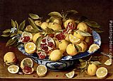 Gerrit van Honthorst A Still Life Of A Wanli Kraak Porcelain Bowl Of Citrus Fruit And Pomegranates On A Wooden Table painting