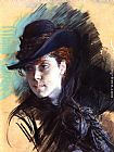 Giovanni Boldini Girl In A Black Hat painting