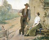 Henri Adriene Tanoux Peasant Couple in Farmyard painting