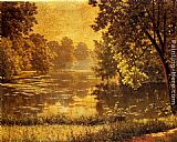 Henri Biva A Wooded River Landscape painting