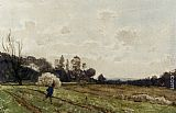 Henri-Joseph Harpignies A Farmer Crossing a Field painting