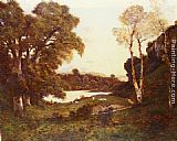 Henri-Joseph Harpignies Goats grazing beside a lake at sunset painting