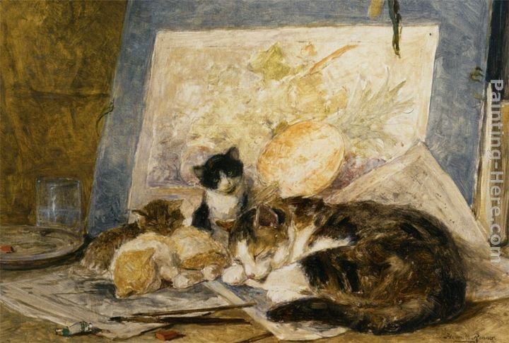 Henriette Ronner-Knip A Cat and her Kittens in the Artists Studio
