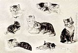 Henriette Ronner-Knip A Study Of Cats Drinking, Sleeping And Playing painting