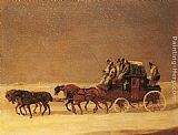 london Canvas Prints - The Derby and London Royal Mail on the Open Road in Winter