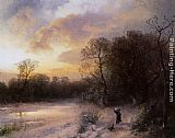 Herman Herzog Daybreak on a Snowy Morning painting