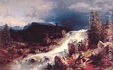 Herman Herzog Mountain Landscape with Watermill painting