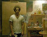 Jacob Collins Self Portrait with canvas painting