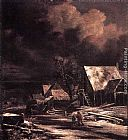 Jacob van Ruisdael Village at Winter at Moonlight painting