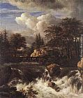 Jacob van Ruisdael Waterfall in a Rocky Landscape painting