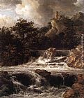 Jacob van Ruisdael Waterfall with Castle Built on the Rock painting