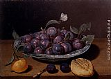 Jacques Linard Still Life Of A Plate Of Plums And A Loaf Of Bread painting