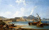 James Wilson Carmichael The Bay Of Naples With Vesuvius Beyond painting
