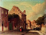 Jan Hendrik Weissenbruch A Sunlit Townview With Figures Conversing painting