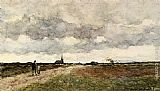 Jan Hendrik Weissenbruch Figures On A Country Road, A Church In The Distance painting