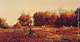 Jervis McEntee Gathering Autumn Leaves painting