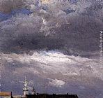 above the clouds Paintings - Cloud Study, Thunder Clouds over the Palace Tower at Dresden
