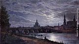 Johan Christian Clausen Dahl View of Dresden at Full Moon painting