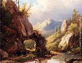 Johann Bernard Klombeck A Mountain Valley With A Peasant And Cattle Passing Along A Stream painting