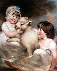 John Russell Portrait of Miss E. and Miss L. Earle with a Lamb painting