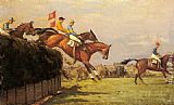 John Sanderson Wells The Grand National Steeplechase Really True and Forbia at Beecher's Brook painting